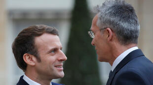 FILE PHOTO. French President Emmanuel Macron welcomes NATO Secretary General Jens Stoltenberg as he arrives for a meeting at the Elysee Palace in Paris, France, November 28, 2019.