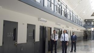 Barack Obama tours a cell block at the El Reno Federal Correctional Institution in El Reno, Oklahoma, on July 16, 2015.