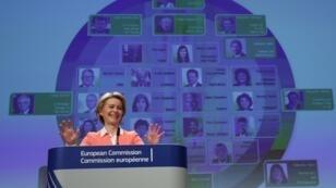 La presidenta electa de la Comisión Europea, Ursula von der Leyen, durante la conferencia de prensa en la que dio a conocer la composición de su equipo el 10 de septiembre de 2019 en Bruselas, Bélgica.