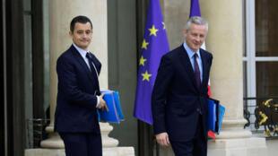Gerard Darmanin, le ministre de l'Action et des Comptes publics, précédé par Bruno Le Maire, le ministre de l'Économie.