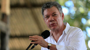 El presidente de Colombia, Juan Manuel Santos, durante un evento en los lagos de tarapoto en la región del Amazonas (18 de enero de 2018).