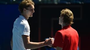 Alexander Zverev (left) battled past Denis Shapovalov in three tough sets