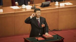 Le président chinois Xi Jinping devant l'Assemblée nationale populaire, le 17 mars 2018.