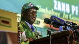 Le président zimbabwéen Emmerson Mnangagwa le 4 mai 2018, à Harare.