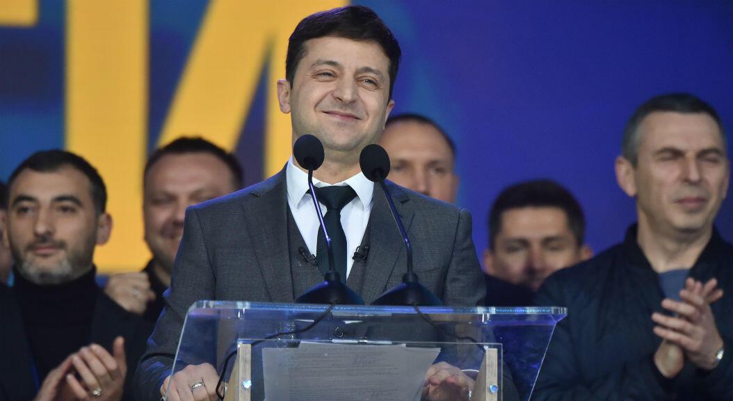 Archivo-el actual mandatario electo de Ucrania y entonces candidato presidencial, Volodímir Zelenski, durante su campaña, el 19 de abril de 2019.