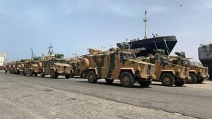 Turkish-built armoured vehicles unloaded at Tripoli port