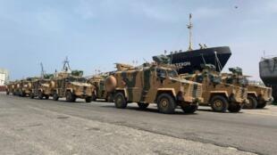 Turkish-built armoured vehicles unloaded at Tripoli port