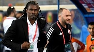 Le sélectionneur de l'équipe du Sénégal Aliou Cissé (g.) au côté de son homologue pour l'équipe algérienne, Djamel Belmadi (d.) lors du match de la CAN entre le Kenya et la Tanzanie, le 27 juin au Caire.