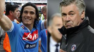 Edinson Cavani durant sa période napolitaine, et Carlo Ancelotti au PSG au début de l'ère qatarie