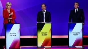 Marine Le Pen, Benoît Hamon et François Fillon participaient, avec les autres candidats à la présidentielle, à une émission sur France 2, jeudi 20 avril 2017.