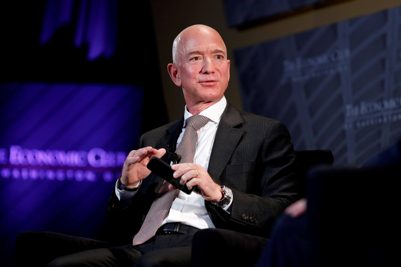 (FILE PHOTO) Jeff Bezos, president and CEO of Amazon Inc., speaks in Washington, D.C. on September 13, 2018.