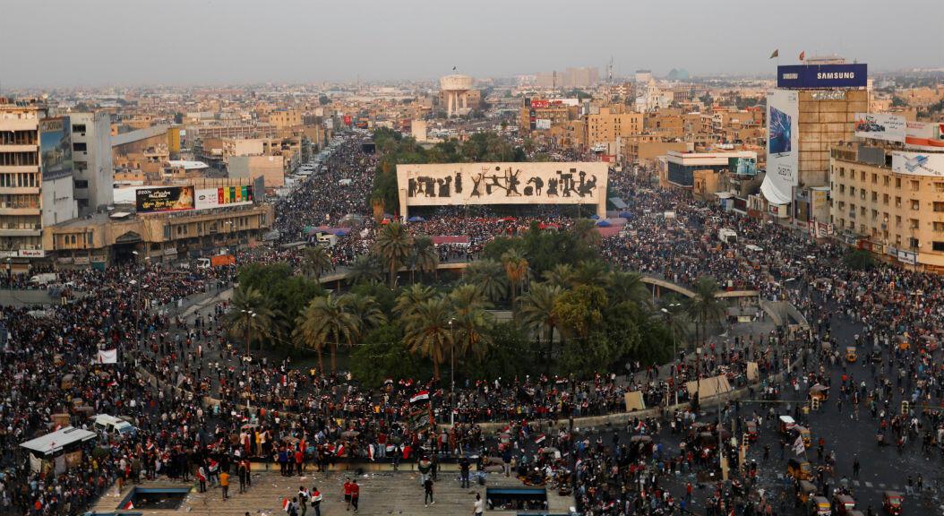 Vista general de la plaza Tahrir, en Bagdad, Irak, en medio de las protestas antigubernamentales, el 28 de octubre de 2019.