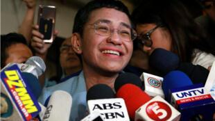 La directora del medio digital Rappler da declaracioens a la presa luego de pagar la fianza en el Tribunal Regional de Manila, Filipinas, el 14 de febrero de 2019.
