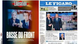 La presse française titre sur le débat entre les deux finalistes à l'élection présidentielle, le 4 avril 2017.
