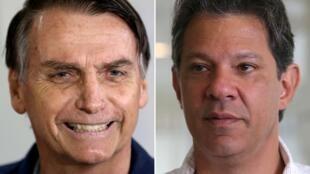 Los candidatos a la presidencia de Brasil, Jair Bolsonaro (izquierda) y Fernando Haddad (derecha).