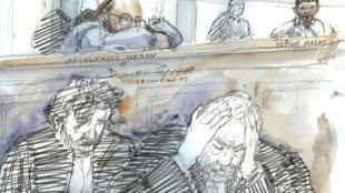 Abdelkader Merah, dans le box des accusés, le 31 octobre 2017, à la cour d'Assises de Paris, et au premier plan son avocat, Éric Dupond-Moretti.