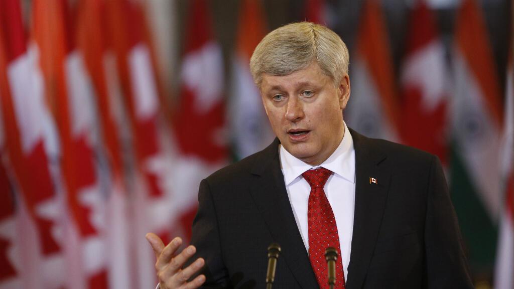 رئيس الحكومة الكندي ستيفن هاربر في أوتاوا في  15 نيسان/أبريل 2015