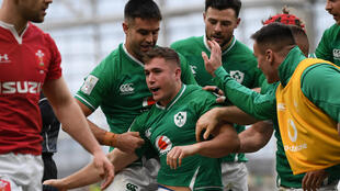 Injured - Ireland full-back Jordan Larmour (C), pictured celebrating after scoring a try against Wales in Dublin in February, will miss the rest of the Six Nations and the Autumn Nations Cup