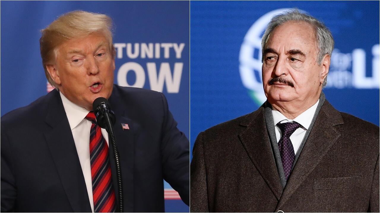 Donald Trump s'est entretenu par téléphone lundi 15avril2019 avec le maréchal Khalifa Haftar.