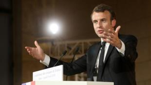 Emmanuel Macron, le 9 avril 2018, au Collège des Bernardins à Paris, lors de son discours devant la Conférence des évêques de France.