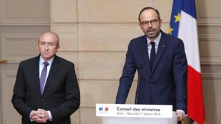 Gérard Collomb et Édouard Philippe le 17 janvier 2018 à Paris.
