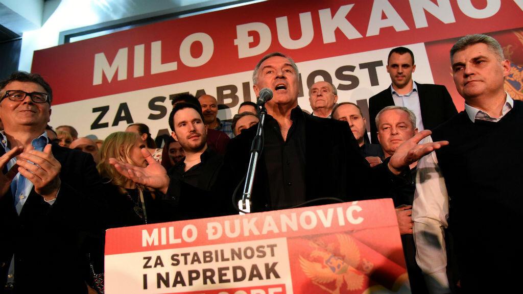 Milo Djukanovic, el nuevo presidente de Montenegro, se dirige a sus seguidores en la capital, Podgorica, el 15 de abril de 2018.