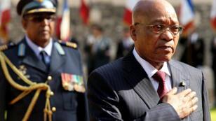 Le président Jacob Zuma lors de la commémoration de la bataille du bois de Delville, le mardi 12 juillet 2016, à Longueval.
