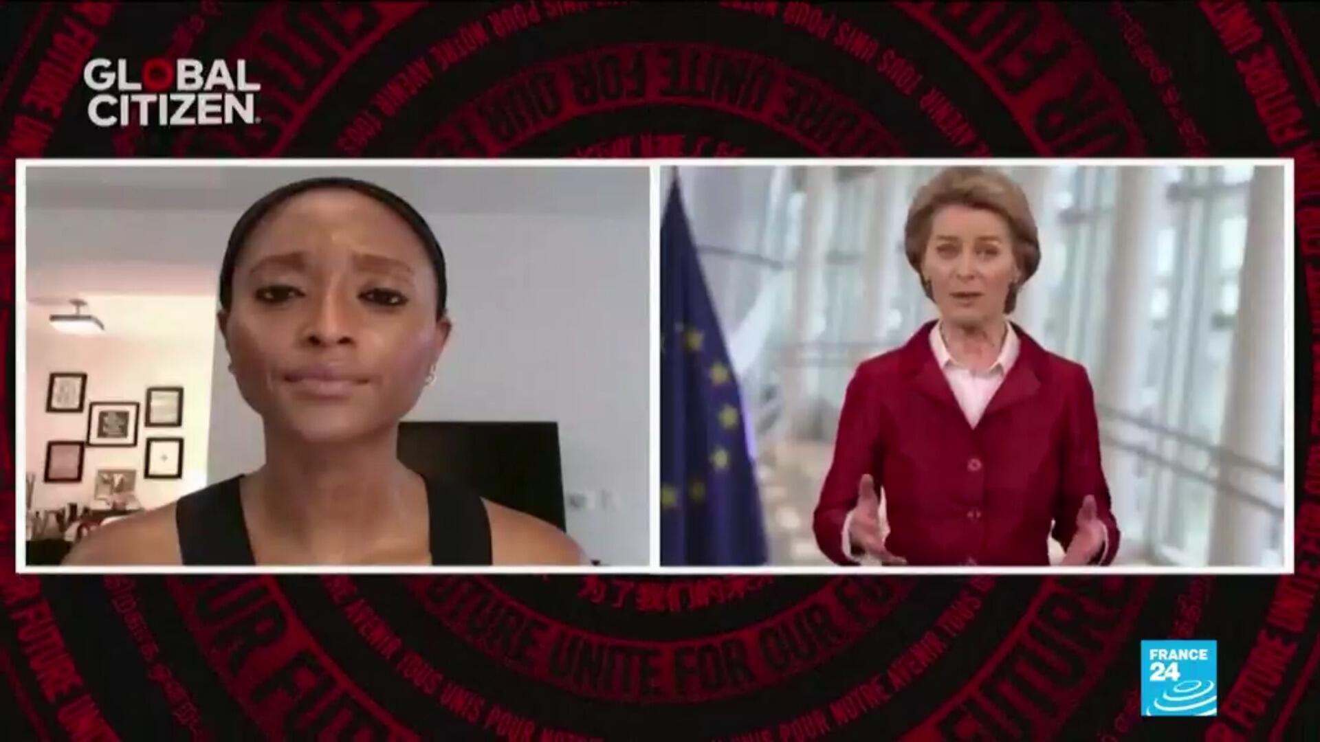 """Coldplay, Miley Cyrus, Jennifer Hudson et Dwayne """"The Rock"""" Johnson sont venus samedi en aide à la présidente de la Commission européenne Ursula von der Leyen dans la collecte de fonds pour mettre au point un vaccin contre le Covid-19."""