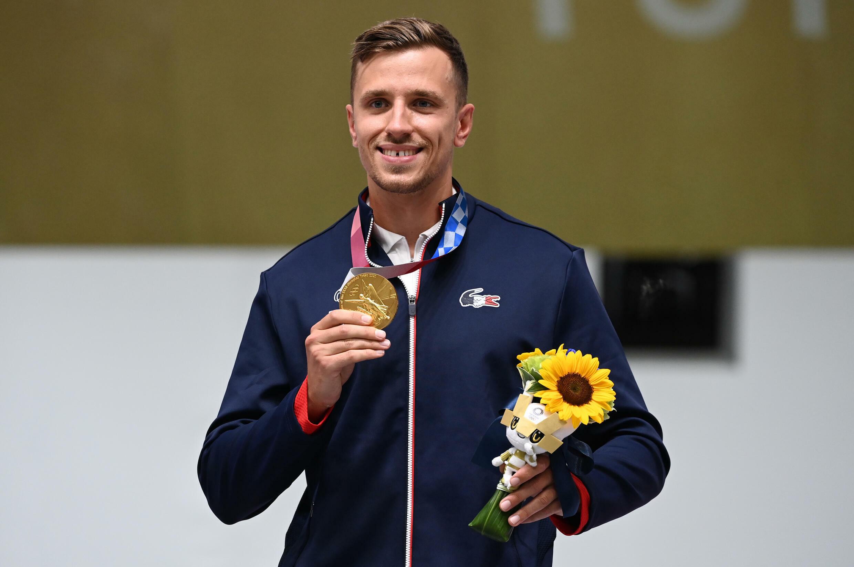 Jean Quiquampoix champion olympique du pistolet tir rapide aux JO de Tokyo, le 2 août 2021
