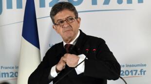 Le candidat de La France insoumise, Jean-Luc Mélenchon, au soir du 1er tour de la présidentielle.