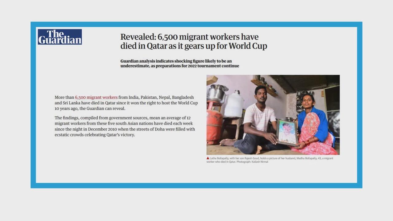 Plus de 6500 travailleurs immigrés morts sur les chantiers du Qatar depuis 2010