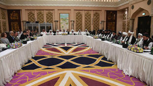 File photo of US-Taliban peace talks in Doha, Qatar in February 2019.