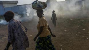 Le camp de réfugié de Mpoko à Bangui en Centrafrique, le 20 février 2014.