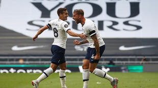 Toby Alderweireld (right) celebrates scoring the winner in a 2-1 victory over Arsenal