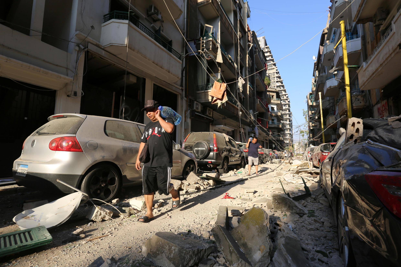 L'explosion du port a considérablement aggravé les problèmes d'approvisionnement en eau à Beyrouth. Photo de la zone du port, le 5 août 2020.