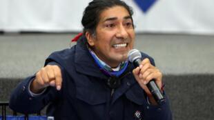 El candidato presidencial Yaku Pérez en un encuentro en el Consejo Nacional Electoral (CNE) en Quito, el 12 de febrero de 2021