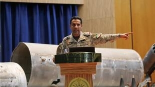Saudi led coalition spokesman, Colonel Turki al-Malki, gestures during a news conference in Riyadh, Saudi Arabia July 2, 2020. REUTERS
