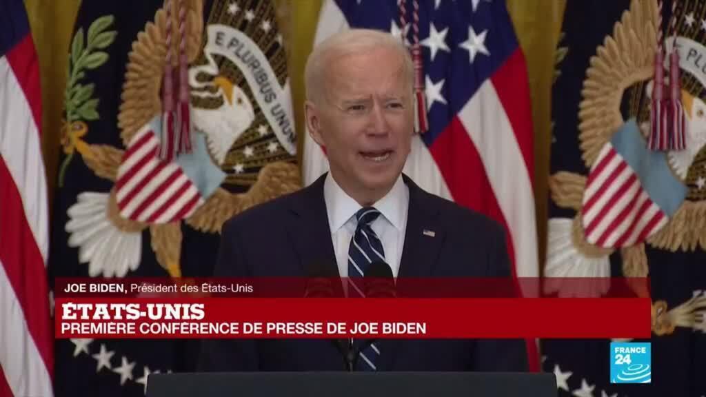 2021-03-25 18:27 REPLAY - Première conférence de presse du président américain Joe Biden