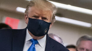 US President Donald Trump, pictured here in a face mask on July 11, 2020 as he visited a hospital, posted a similar image on Twitter