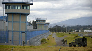 Soldiers patrolled the perimiter of the Sierra Centro Norte prison in Latacunga, Ecuador, following deadly riots in two other prisons