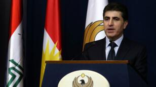 Le Premier ministre du kurdistan irakien, Nechirvan Barzani, lors d'une conférence de presse le 13 novembre 2017 à Erbil.