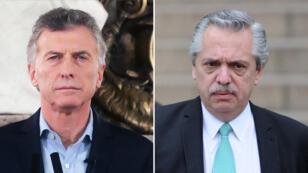 El presidente Mauricio Macri y su contendor en las presidenciales de este año, Alberto Fernández.