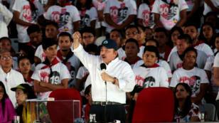 El presidente de Nicaragua, Daniel Ortega, pronuncia un discurso en el 40 aniversario de la revolución sandinista en Managua, Nicaragua, este 19 de julio de 2019.