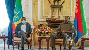 Ethiopian PM Abiy Ahmed (L) meets with Eritrean President Isaias Afwerki in Asmara, Eritrea, on March 25, 2021.