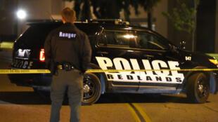Périmètre de sécurité aux abords du domicile des suspects de la fusillade de San Bernardino.