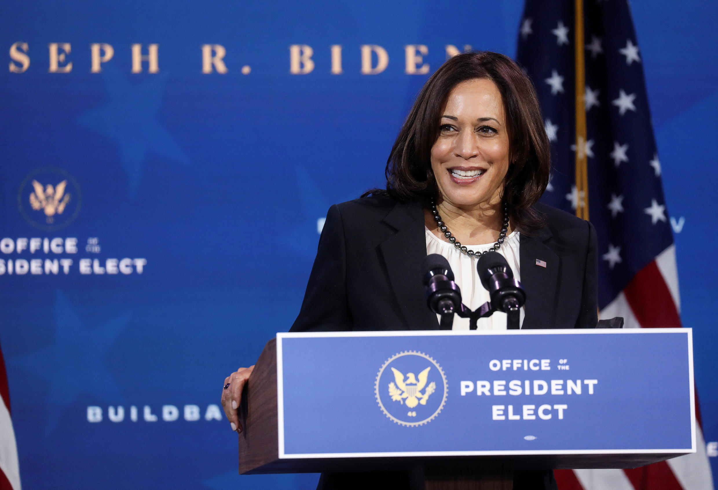 US vice president-elect Kamala Harris at a press conference in Wilmington, Delaware, Dec 1, 2020.