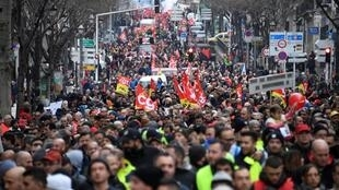 Protesters march in Marseille, France, on January 24, 2020, as part as a nationwide multi-sector strike against the French government's pensions overhaul.