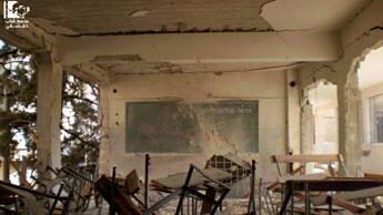 Sur Facebook, photo d'une école détruite prise par un activiste à Damas