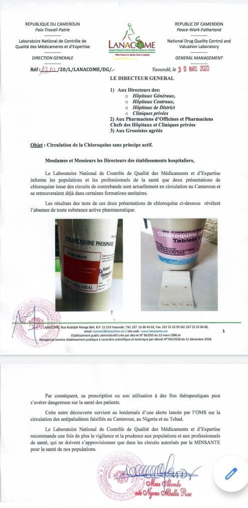 A document of the Cameroonian health services warns against fake chloroquine in circulation.