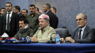 Le président du Kurdistan irakien, Massoud Barzani (centre), lors d'un rassemblement le 12 septembre 2017 à Kirkouk.